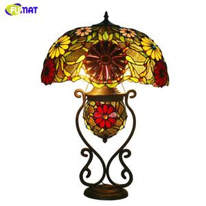 FUMAT Verre Art Lampe De Table De Luxe Tournesol Vitrail Tiffany Lampe Pour Salon Chevet Stand Hôtel Décor Luminaires