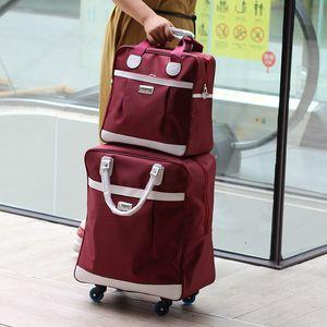 Мода Женщины вагонетки багажа завальцовки Suitcase Travel Hand Наконечник поперечной рулевой тяги костюм Повседневный Роллинг Case Дорожная сумка Колеса чемодана багажа CJ191221