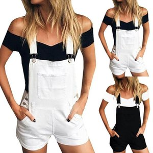 Moda-Hxroolrp mamelucos para mujer mono Loose Denim Bib Hole Pantalones Monos Jeans Demin Shorts Mono Romper para mujer F1