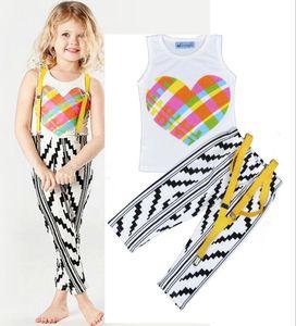 T-shirt imprimé fille d'amour pour enfants d'été, pantalon de ceinture, costume blanc