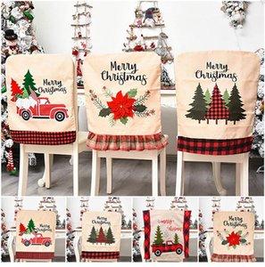 Silla de Navidad carcasa trasera Silla de comedor cubierta Fundas para Navidad banquete de vacaciones Chritsmas Decoración DHF381