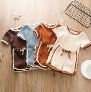 Kids Tracksuits Striped Baby Boy Rompers Short Pants 2pcs Sets Infant Girls Pajama Set Boutique Baby Clothing 4 Colors DW5395