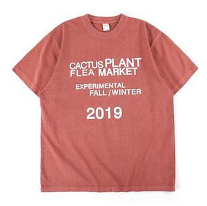 Падение высокого качества Кактус завод / зима Новый T-Shirt Мужчины Женщины Тис HipHop Крупногабаритные Футболка Мужчины M-XXL