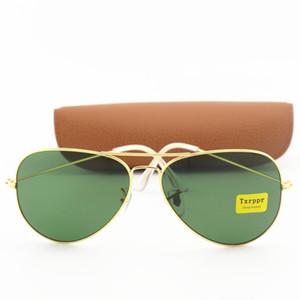Venda Hot alta qualidade Homens Mulheres Sunglasses Txrppr Driving Óculos de sol Ouro Metal Frame verde UV400 58 milímetros Lens Vem caixa de Brown