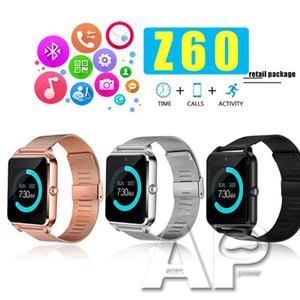 Aço relógio inteligente Z60 Smartwatches inoxidável Smart Wireless Relógios Suporte TF cartão SIM para o Android com embalagem de varejo