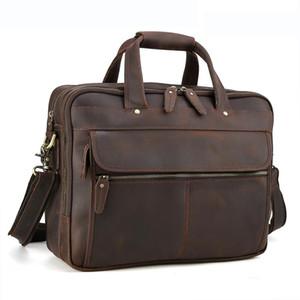 Gerçek Deri Evrak Çantası Koyu Kahverengi 15 Inç Dizüstü Omuz Çantası Erkekler Seyahat Çantası Çanta Çok Katmanlı Bilgisayar Çantaları Ücretsiz Nakliye LX13052