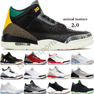 2020 NewRetro 3 Animal Pack 3s Mens Basketball Shoes Knicks Rivals UNC PE SEOUL Black Cement Cat casual Blue causal shoes us 7-13