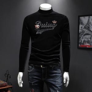 T-shirt de manga comprida de outono e inverno de veludo ouro homens jaqueta de lantejoulas 2019 camisa de gola alta dos homens da tendência nova juventude S-5XL