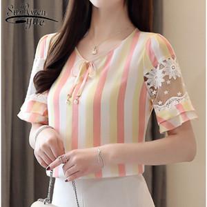Pink Strip Lace Blouse Women Tops and Blouse 2019 New Korean Women Clothing Fashion Short Sleeve Chiffon 4192 50