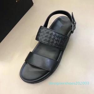 Brand Designer Handmade Weave Mens Summer Sandals 100% Real Leather Flats Sandals Beach Slippers Casual Comfort Platform Shoes d03