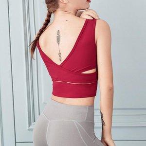 2020 Yaz Spor Spor Yelek Bayan Yoga Yelek Bayan Kemer Göğüs pedi Çapraz Güzellik Geri Kısa Yoga Suit