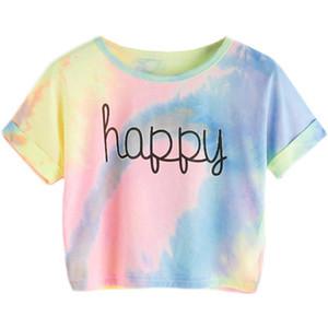 Heureux arc-en-pastel Tie Dye T -Shirt femmes de lettre T-shirt imprimé plage -Pour -Bar Night Club Party courtes T-shirts Crop Summer Femme Tendance