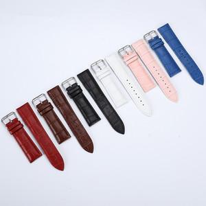 13 14 15 16 17 18 19 20 22 milímetros cinta da correia do relógio de couro genuíno pulseira wristwatches banda preto branco vermelho fêmea