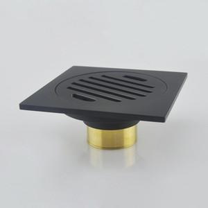 Antik Siyah Pirinç Yer Sifonları Duş Zemin Drenaj Banyo Deodorantı Kare Atık Tahliye Süzgeç Kapak Rendeleyin 10 cm * 10 cm