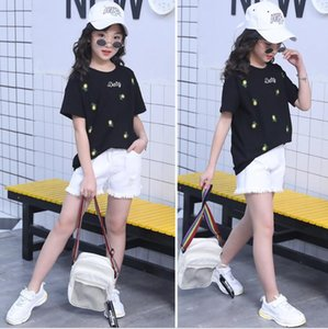 New Girls Summer Cotton tops Cotton T shirt + Jeans shorts two piece set kids outfits Costumes ensemble fille 6 8 10 12 14 Years T200707