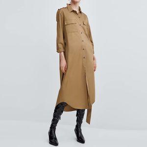 Doble Bolsillos Epaulettes manga larga Da vuelta abajo a mujeres del collar vestido del color sólido largo ocasional atan para arriba color caqui camisa de vestir MZ3398