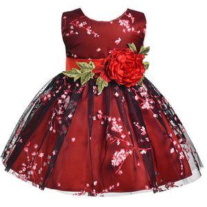Mädchen Kleid Für Sommerkleider Blumendruck Sleeveless Vestido Kinder Kleidung Prinzessin Mädchen Kostüm Baby Mädchen Kleid Rotwein J190514