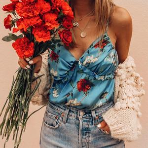 Para mujer de la impresión floral del chaleco atractivo de Verano de diseño sin respaldo V correa para el cuello Tees Hembras Tanques dulces hacia fuera