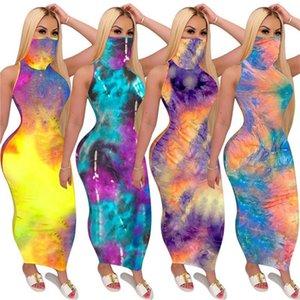 Womens Bodycon Dresses Tie-dyed Designer Mask Summer Sleeveless Dress Sunproof Facemask Scarf Party Club Maxiskirt Casual Long Dress D52716