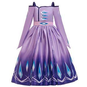 الأميرة اللباس لفتاة كم طويل وشاح ملكة الثلج 2 يتوهم هالوين المسابقة حزب ملابس الاطفال الأرجواني الملابس