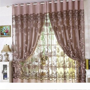 Luxury Embroidered Tulle Blackout curtain for Living Room Bedroom Floral Printed Modern style Drapes Tulle with Beads Treatment