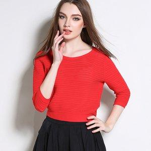 Pop2019 Spring Xia Xinkuan Вязаная тонкая рубашка, свитер из 7 частей. Костюм-платье Ice Pick Holes T Pity Woman