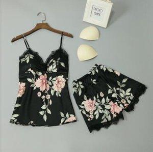 Women Designer Tracksuits Women Two Piece Outfits Silk Sleeveless Women V Neck Floral Shorts Casual Sleepwear Pajamas Set Regular Size