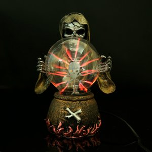 [Funny] Witch & Skeleton Electrostatic Plasma Ball Sphere Light Magic Crystal holiday Lamp Household Office Desktop Decorations