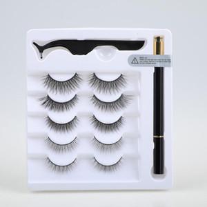 New 3D False Eyelashes Liquid Eyeliner and Tweezers Kit No Glue Non Magnetic 5 Pairs faux Eyelash Natural Reusable lashes Sticky Eyeliner