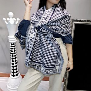 El mejor regalo de alta calidad de la cachemira de las mujeres mezcló la bufanda del otoño bufandas de la manera estilo de invierno chal chal de impresión borla larga clásica Añadir bolso