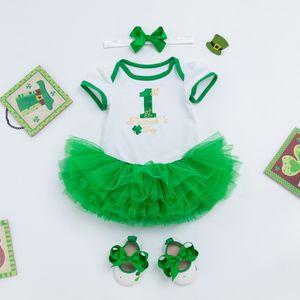 Девочка Set Святого Патрика клевер балахон пушистой юбка оголовье обувь 4 PCS одежды для малышей девушки коротких наборов