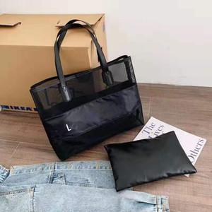 branco cadeia malha logotipo de compras clássico saco com fita clássico padrão Travel Bag Mulheres Wash Bag Cosmetic Makeup armazenamento de malha Caso
