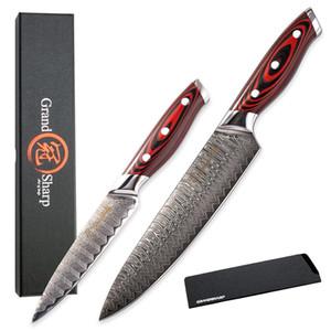 Grandsharp Кухонный нож Утилита для шеф-повара Утилита Damascus Ножи VG10 Японские Damascus Сталь Улучшение домашнего дома Кухонные гаджеты Японские ножи