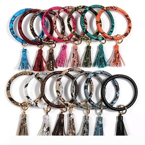 Tassel Bangle Keychain Bracelets Keyring Snake Leather O Wristlet Bracelet Circle Charm Key Ring Holder Wristbands Party Favor DBC VT1164