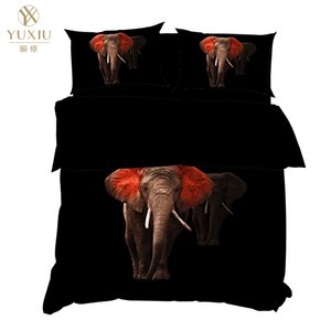 Yuxiu stampa 3D Animal Elefante nero Copripiumini 3Pcs Imposta Bedding Set Lenzuola Quilt Cover Re Regina completa Gemello Singolo