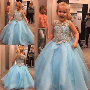 Ciel bleu Princesse mariage robes fille fleur Puffy Tutu Cap manches cristaux Sparkly enfant en bas âge Little Girls Pageant Dress Communion