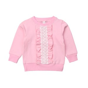 Toddler Kids Baby Girls Ruffle Lace Top T-Shirt Blouse Pullovers Autumn Clothes Cute Fashion Cotton Solid Children Lovely