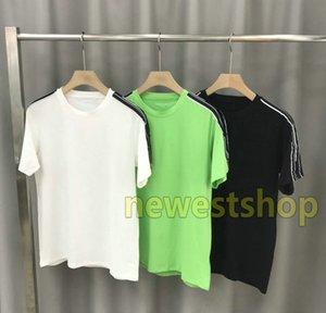 2020 жаркое лето Париж роскошная мужская одежда Письмо печати лоскутная полосатая футболка модные футболки высокое качество дизайнерские футболки повседневная футболка