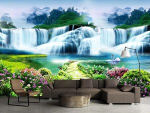 Large 3D wallpaper mural custom Huachuang Xiaolu Waterfall Landscape Scenery Sofa bedroom TV background wallpaper mural