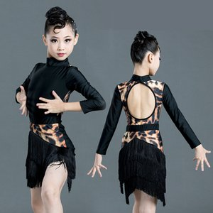 Latin Dance Girls Dress Jumpsuit Fringe Jupe Balançoire Tassel Vêtements Robe enfants Leopard Costume Rumba Performance Danse Costume 3428