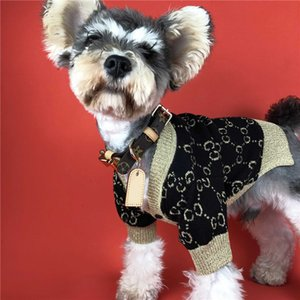 Sweater Dog Fashion Ouro Pet Casual Jacket Outfit Costume Moda Cardigan camisola de malha Para Schnauzer do filhote roupa T191213