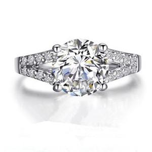 Testi Gerçek Sentetik elmas Halka Moissanite Mücevher Özel 2CT nişan yüzüğü Gümüş Takı Ekonomik Yüzük S925 T190924