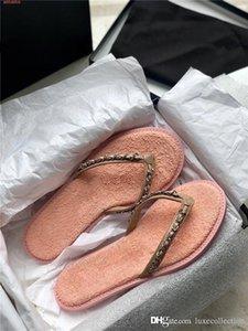 Printemps / été 2020 nouvelle jean grillagée flip-flops dames chics sandales plates chaîne tricotée flip-toe métalliques occasionnels pantoufles emballage Matching
