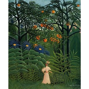 Canvas art oil Paintings Woman Walking in an Exotic Forest Henri Rousseau Hand painted Landscapes artwork for bedroom decor