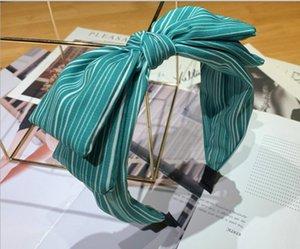 Web celebrity wide side lovely bow face hair band women wear joker fresh stripes pressure hair band hair clip