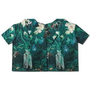 Europa Primavera Estate Uomo Fantasy Pittura A Olio piante vaso di fiori Camicia A Maniche Corte Fresco artistico Hip hop Shirt Designer Tee