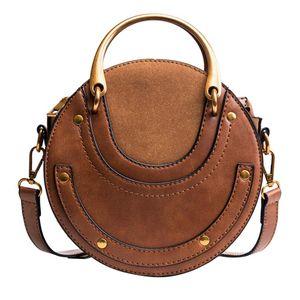 Vintage Scrub Leather Round Designer Crossbody Bag For Women 2019 Retro Shoulder Bags Ladies Small Handbags Mini Tote Bag #H30