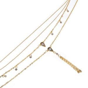 Bls-Wunder Boho Kristall-Wasser-Tröpfchen Lange Multi Schicht NecklacesWomen Kornchoker Halskette Statement Schmuck Großhandel