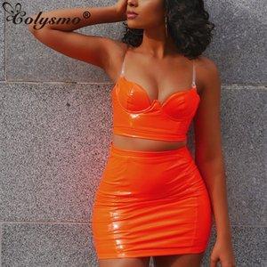 Colysmo Sexy Neon Two Piece Set искусственная кожа 2 шт набор женщин прозрачные ремни спинки растениеводство топ юбка комплект клубные наряды одежда V200325
