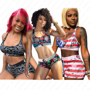 Ethika Women Designer Swimsuit 2 Piece Bikini Set Vest Tank Top Bra + Shorts Swimming Swim Suit USA Striped Patchwork Beach Swimwear D52701